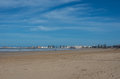 View to Essaouira medina rampant and ocean from sand city beach, Royalty Free Stock Photo