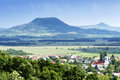 View to extinct volcanoes at lake balaton highlands hungary Royalty Free Stock Images