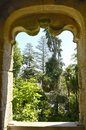 View to the garden in quinta da regaleira of a palace located sintra portugal Stock Photo