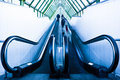 View to gray escalator Royalty Free Stock Photo
