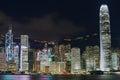 View to the hong kong modern buildings at night in hong kong china september Stock Photography