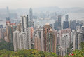 View to hong kong from victoria peak the tower observation platform with panoramic city and victory harbour at metres above sea Royalty Free Stock Photography
