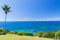 View to indian ocean from island with palm tree Royalty Free Stock Photo