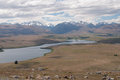 View to lake Alexandrina from Mt John Observatory Royalty Free Stock Photo