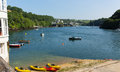 View to north on fowey river cornwall england uk northern of colourful boats Royalty Free Stock Photo