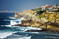 View to the ocean and village from rocks portugal coast Stock Image