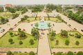 View to the Patuxay Park from the Victory monument in Vientiane, Laos. Royalty Free Stock Photo