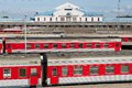 View to the railway station with ready to depart trains in Vilnius, Lithuania. Royalty Free Stock Photo