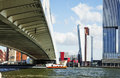View to Rotterdam city harbour, future architecture concept, bri Royalty Free Stock Photo