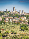 View to san gimignano the town with blue sky in tuscany italy Stock Photo