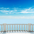 View to sea from terrace with balcony Royalty Free Stock Photos
