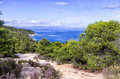 View to the sea from top of a hill in sithonia greece chalkidiki Stock Images