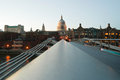 View to st pauls from millenium bridge in london uk Stock Photography