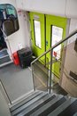 View to stairs and door in a modern train Royalty Free Stock Photo