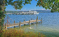 View to starnberger see boardwalk and steamboat Stock Photos