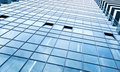 View to steel blue background of glass building Royalty Free Stock Photos