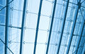 View to steel blue glass airport ceiling Royalty Free Stock Photos