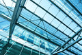 View to steel blue glass airport ceiling Stock Images