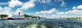 View to Stockholm with a ferry from sea Royalty Free Stock Photo