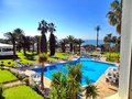 view to a swimming pool with sunshade and palm trees Royalty Free Stock Photo