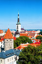 View to tallinn old town beautiful and saint olaf church estonia Royalty Free Stock Photography