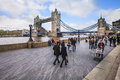 View to Tower Bridge in lazy weekend day in London Royalty Free Stock Photo