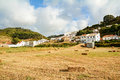 View to small town of Aljezur with traditional portuguese houses and rural landscape, Algarve Portugal
