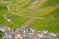 View to the vineyards near Bernkastel-Kues and river Moselle, Germany Royalty Free Stock Photo