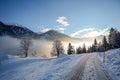 View to a winter landscape with mountain range of Gasteinertal valley near Bad Gastein, Pongau Alps - Salzburg Austria Royalty Free Stock Photo