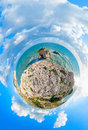 View from top of aphrodite s rock cyprus little planet Royalty Free Stock Photos