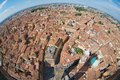 View from the top of Asinelli tower with a fish eye lens to Bologna, Italy. Royalty Free Stock Photo