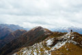 View from the top of chanderkhani pass in himalayan mountains Royalty Free Stock Photo