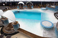View of top deck of cruise ship with pool. Royalty Free Stock Photo