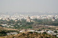 View from the top of golkonda fort looking towards the islamic qutb shahi tombs known as seven tombs in hyderabad india Royalty Free Stock Images