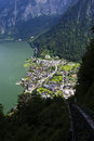 View from the top of the mountain through the railroad track down to lake hallstatt austria Stock Images