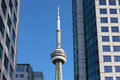 View of toronto cn tower between two buildings ontario canada Royalty Free Stock Image