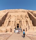 Tourists visiting Abu Simbel, the Great Temple of Ramesses II, Egypt Royalty Free Stock Photo