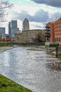View towards Canary Wharf from River Lea, Bow. Royalty Free Stock Photo