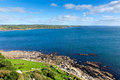 View towards mullion and lizard point cornwall from st michaels mount Stock Photography