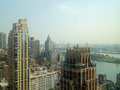 View towards the queensboro bridge from east midtown manhattan in new york ny usa Royalty Free Stock Photo