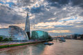 View from tower bridge london panoramic at sunset Royalty Free Stock Photography