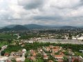 View of town on the central part a mukachevo city from mountain Royalty Free Stock Photography