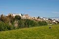View of town and farmland, Ronda, Spain. Stock Photography