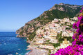 View of the town of positano with flowers amalfi coast italy Stock Image