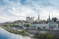 View of town Saumur from Loire Valley, France Royalty Free Stock Photo
