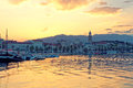 View on town Split at sunrise from the side of sea - Dalmatia, Croatia