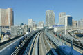 View of track of train at Odaiba district, Tokyo, Japan