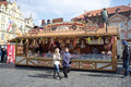 View traditional street market famous old town square prague czech republic Royalty Free Stock Images