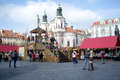 View traditional street market famous old town square prague czech republic Royalty Free Stock Photos