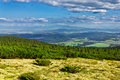 View from trail to the Pilsko Peak from Beskidy mountains Stock Photo